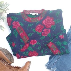 Vintage • rose floral chunky oversized sweater